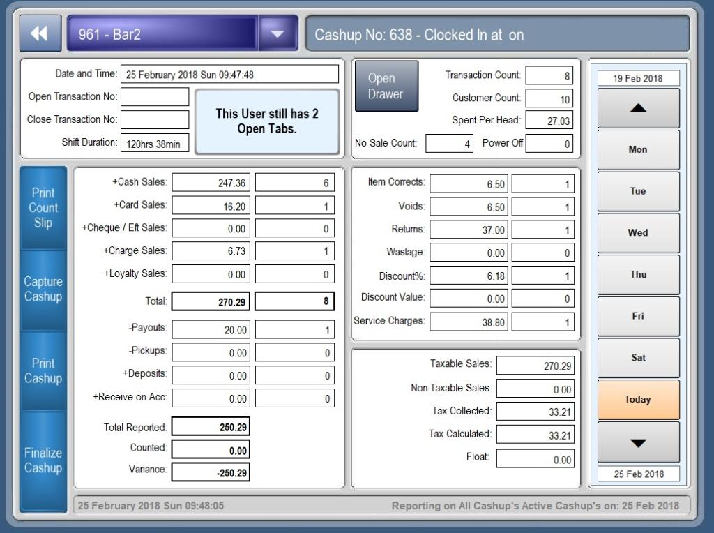 CashuUp Screen