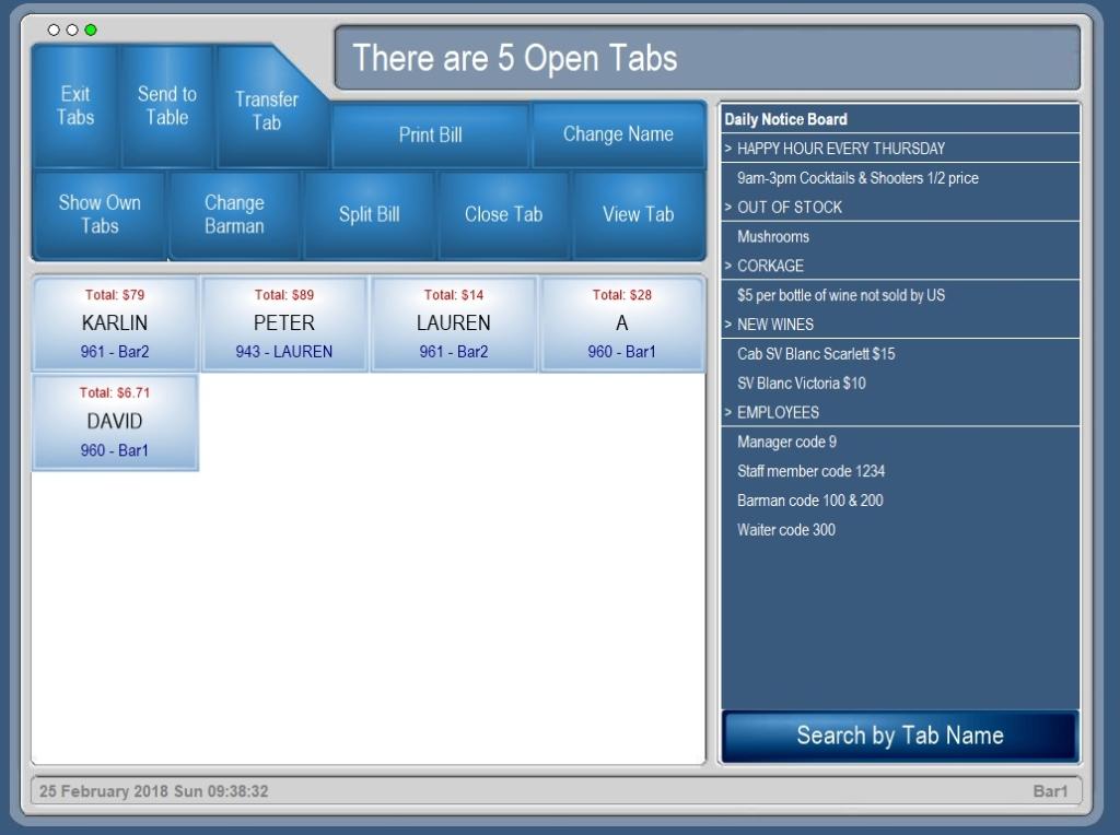 Bar Tabs Screen